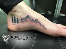 Tattoos To Cover Scars, Cover Tattoo, Ankle Tattoos For Women, Tattoos For Guys, Moutain Tattoos, Hiking Tattoo, Camping Tattoo, Mountain Range Tattoo, Simple Mountain Tattoo