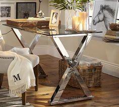 Ava Metal & Glass Desk, Polished Nickel finish