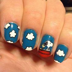 Snoopy and Woodstock -Nails-Nail Art- Cute Nail Art, Cute Nails, Pretty Nails, Fingernail Designs, Cute Nail Designs, May Nails, Hair And Nails, Comic Nail Art, Snoopy Nails