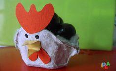 Il gallo Coccò realizzato con la scatola delle uova capovolta