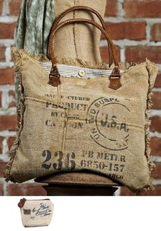 Mona B Vintage Ink Stamp Weekender Upcycled Canvas Bag M-2453 with Coin Purse