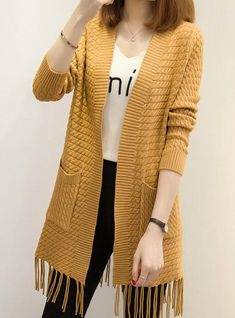 Material:Acrylic,Spandex,WoolMaterial Composition:Wool Spandex AcrylicTechnics:Computer KnittedCollar:V-NeckSleeve Length(cm):FullClothing Length:LongItem Type:CardigansSleeve Style:RegularDecoration:NonePattern Type:PlaidClosure Type:Open Stitch Knitwear Fashion, Cardigan Fashion, Long Cardigan, Knit Cardigan, Ladies Cardigan Knitting Patterns, Yellow Clothes, Knitted Coat, Crochet Blouse, Diy Dress