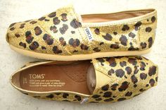 cheetah painted gold glitter toms!