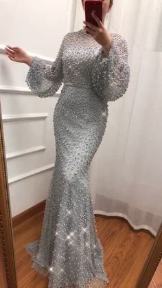 Plus size Full Pearls beaded Mermaid Evening Dresses (Grey/White). Processing time business days after payment # Fashion dresses Plus size Full Pearls beaded Mermaid Evening Dresses (Grey/White) Hijab Dress Party, Hijab Evening Dress, Mermaid Evening Dresses, Evening Gowns, Prom Dresses, Beaded Dresses, Flapper Dresses, Elegant Dresses, Beautiful Dresses