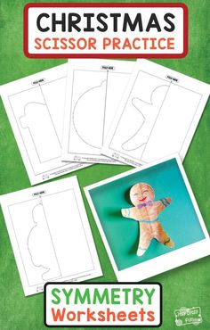 Christmas Cutting Practice Symmetry Worksheets for Kids. Fun free printable Christmas activity for kids. #worksheetsforkids #freeprintablesforkids #christmasprintableforkids