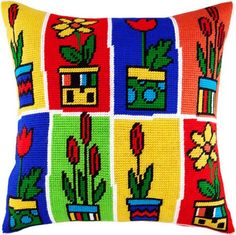 Do you want to have nice pillow on your sofa I guess yes This kit includes everything you need to have this easy beautiful and fun project finished - canvas Diy Embroidery Kit, Cross Stitch Embroidery, Embroidery Patterns, Cross Stitch Patterns, Needlepoint Pillows, Simple Cross Stitch, Crochet Pillow, Love Sewing, Embroidery Techniques