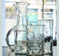 Hand-blown Recycled Drinking Glasses  tabletop