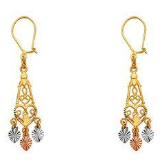 Ioka 14K Tri Color Gold Beads and Jesus Dangle Hanging Drop Shepherds Hook Earrings