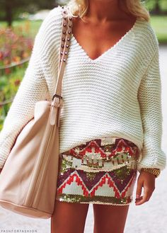 Oversized sweater + aztec skirt