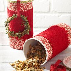 Tasty granola can be enjoyed on the go in this adorable food-container-turned-gift-box: http://www.bhg.com/christmas/gifts/simple-christmas-food-gifts/?socsrc=bhgpin101214granolagiftcontainer&page=4