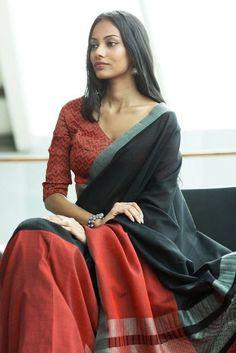 Brown N Black Color Printed Design Heavy Linen Cotton Saree – Bollywood Replica Saree Indian Attire, Indian Wear, Indian Dresses, Indian Outfits, Formal Saree, Simple Sarees, Elegant Saree, Traditional Sarees, Printed Sarees