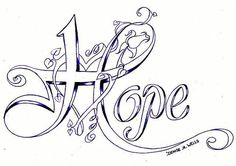 Hope Tattoo Design by Denise Wells Free Adult Coloring, Adult Coloring Book Pages, Colouring Pages, Coloring Books, Schrift Tattoos, Awareness Ribbons, Cancer Awareness, Tattoos For Women, Embroidery Patterns