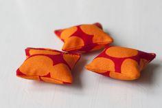 Tiny pillows for the dollhouse / Marimekko Jurmo fabric / UKKONOOA