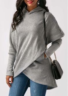 Grey Asymmetric Hem Long Sleeve Hoodie | Rosewe.com - USD $32.13