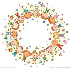 Buy Happy Kids in a Circle by katya_dav on GraphicRiver. Happy kids in a circle holding hands, frame with a copy space Christmas Frames, Preschool Art, Drawing For Kids, Free Vector Art, Happy Kids, Clipart, Bunt, Coloring Pages, Doodles