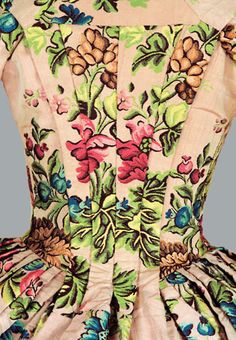 Detail from FLORAL BROCADED DRESS, English, the dress, ca. 1760; the silk, ca. 1735