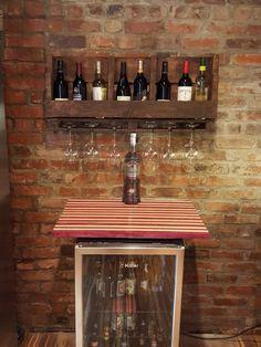 Reclaimed Wood & Pallet Wine Rack & Wine Glass Holder
