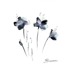 Grey Flowers Watercolor Painting Original Abstract Art 10x10 black pink gift for…