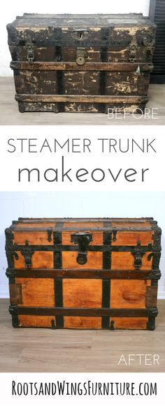 Transform and old steamer trunk with General Finishes Products and MMS Hemp Oil.  Makeover by Jenni of Roots and Wings Furniture.