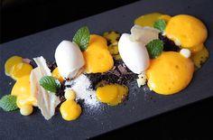 Deconstructed mango dessert