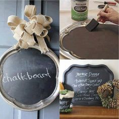Silver trays and ribbon at The Dollar Tree, then paint with chalkboard paint. (Make your own chalk board paint- acrylic paint and plaster. So much cheaper than buying chalkboard paint! Cute Crafts, Crafts To Do, Diy Crafts, Do It Yourself Inspiration, Silver Trays, Silver Platters, Idee Diy, Do It Yourself Home, Crafty Craft