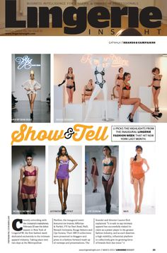 Check out highlights from the debut FW13 season in UK trade title Lingerie Insight!    March '13 print edition