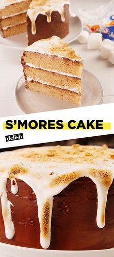 This S'mores layer cake is perfect for any summer birthday. Get the recipe at Delish.com. #summer #smores #cake #baking #birthdaycake #marshmallow #chocolate #recipe #dessert #easyrecipe #delish