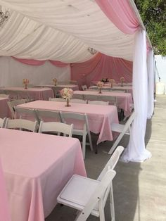 Pink & white tent drape Tent Baby Shower, Baby Shower Winter, First Birthday Winter, Wild One Birthday Party, Party Tent Decorations, Cinderella Decorations, Baptism Party, Baby Baptism, Baby Shower Decorations Neutral