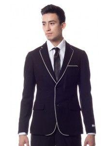 Ferrecci Modern Knit Slim Fit Blazer Jacket - Black