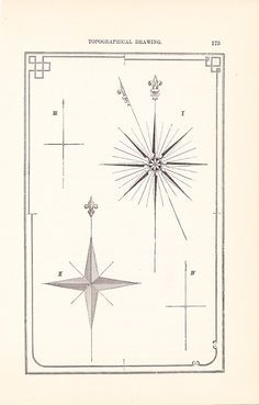 The North Star 1886 Technical Drawing - Compass - Antique Math Geometric Mechanical Drafting Interior Design Art Illustration Framing 100 Years Old via Etsy Star Illustration, Technical Illustration, Technical Drawing, Illustration Inspiration, Nordstern Tattoos, North Star Tattoos, Nautical Star Tattoos, Book Design, Dibujo