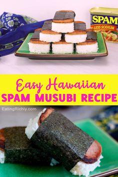 Hawaiian Spam Musubi Recipe, Hawaiian Spam Recipes, Hawaiian Snacks, Hawaiian Dishes, Hawiian Food, Teriyaki Marinade, Food To Make, Easy Foods To Make, Kitchens