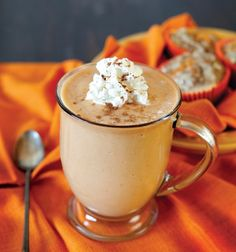 Pumpkin Pie Smoothie: 1/2 cup canned pumpkin 3/4 cup low fat milk 1 banana 1/4 teaspoon cinnamon 1/8 teaspoon nutmeg 1 1/2 teaspoons raw honey 1 teaspoon vanilla extract 6 ice cubes