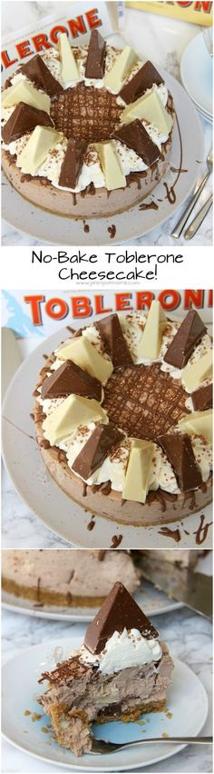 No-Bake Toblerone Cheesecake! ❤️ Creamy Chocolatey Toblerone Cheesecake, with a Buttery Biscuity Base - and its No-Bake! No-Bake Toblerone Cheesecake! ❤️ Creamy Chocolatey Toblerone Cheesecake, with a Buttery Biscuity Base - and its No-Bake! No Bake Desserts, Just Desserts, Delicious Desserts, Dessert Recipes, Yummy Food, Desserts Caramel, Yummy Treats, Sweet Treats, Janes Patisserie