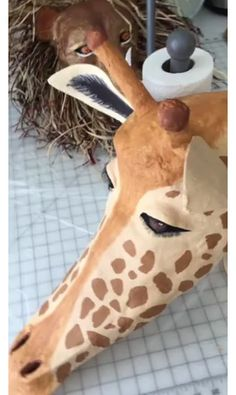 How to Make a Giraffe Mask – Guest Post Lion King Play, Lion King Jr, Animal Masquerade Masks, Animal Masks, Children Of Eden, Lion King Costume, Lion King Musical, Giraffe Costume, Paper Mache Mask