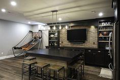 Bar For Basement, Basement Game Rooms, Small Basement Bars, Rustic Basement Bar, Small Bars For Home, Cozy Basement, Basement Kitchenette, Basement Remodel Diy, Basement Bar Designs