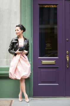 Blushing :: Iridescent dress & Cropped canvas jacket