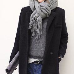 Black coat & denim
