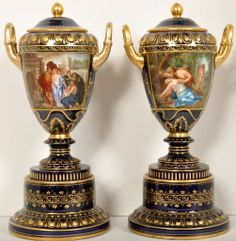 Marked with Royal Vienna beehive, Pair of Lidded Vases / urns1890