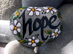 Holding on to Hope / Painted Rock / Sandi Pike Foundas / Cape Cod Sea Stone