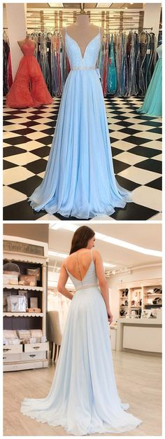 Newest Light Blue A-Line Prom Dress with Beaded Bodice,Long V-Neck Chiffon Evening Dress P1235 #promdresses #longpromdress #2018promdresses #fashionpromdresses #charmingpromdresses #2018newstyles #fashions #styles #hiprom #lightblue