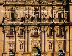 Fachada de la Catedral de Jaén con denominación de las figuras del retablo