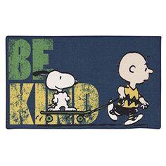 Area Rug Peanuts Snoopy Charlie Brown Be Kind Indoor Door Mat Blue @ niftywarehouse.com #NiftyWarehouse #Peanuts #CharlieBrown #Comics #Gifts #Products