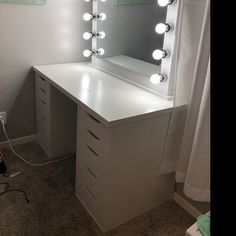 Low shipping & financing Vanity Mirror with lights Ikea Bedroom, Room Decor Bedroom, Living Room Decor, 50s Bedroom, Bedroom Ideas, Bedrooms, Ikea Vanity, Vanity Room, White Vanity Desk