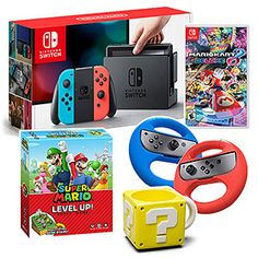 Nintendo Switch Neon w/ Mario Kart 8 + Wheel, Mug & Board Game   ThinkGeek