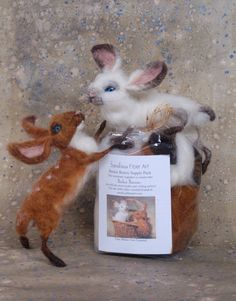 Bunny Supplies for use with Sarafina Fiber Art Instructional Video Series found on Youtube  Enjoy making two Basket Bunnies, one white seal
