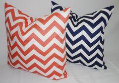 Navy & Coral Chevron Print Decorative Pillow Covers 18x18. $34.00, via Etsy.