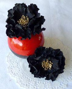 Custom Order Wedding Sugar Black Peony Flower Cake Topper by SweetIdeaFlowers on Etsy