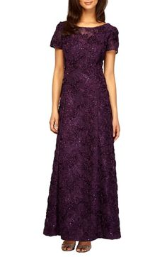 e0db497d883e Alex Evenings Embellished Lace Gown Fitted Bodice, Flare Skirt, Nordstrom,  Sequins, Elegant