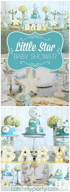 Love this Twinkle Twinkle Little Star shower with a soft color palette! See more party ideas at CatchMyParty.com!