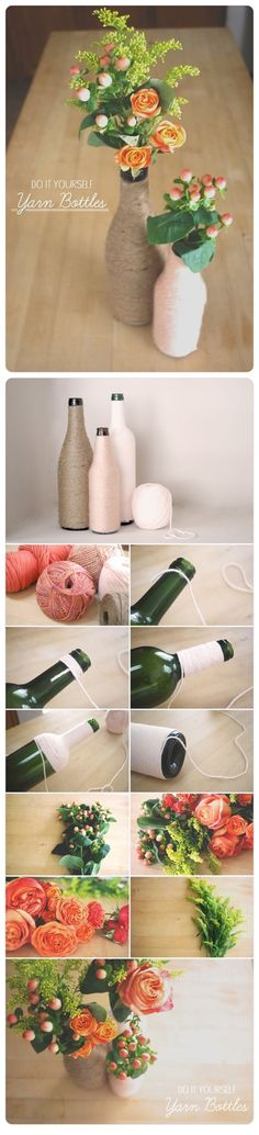 DIY Yarn Bottles diy craft crafts craft ideas easy crafts diy ideas diy crafts easy diy decorations home crafts craft decor craft vases